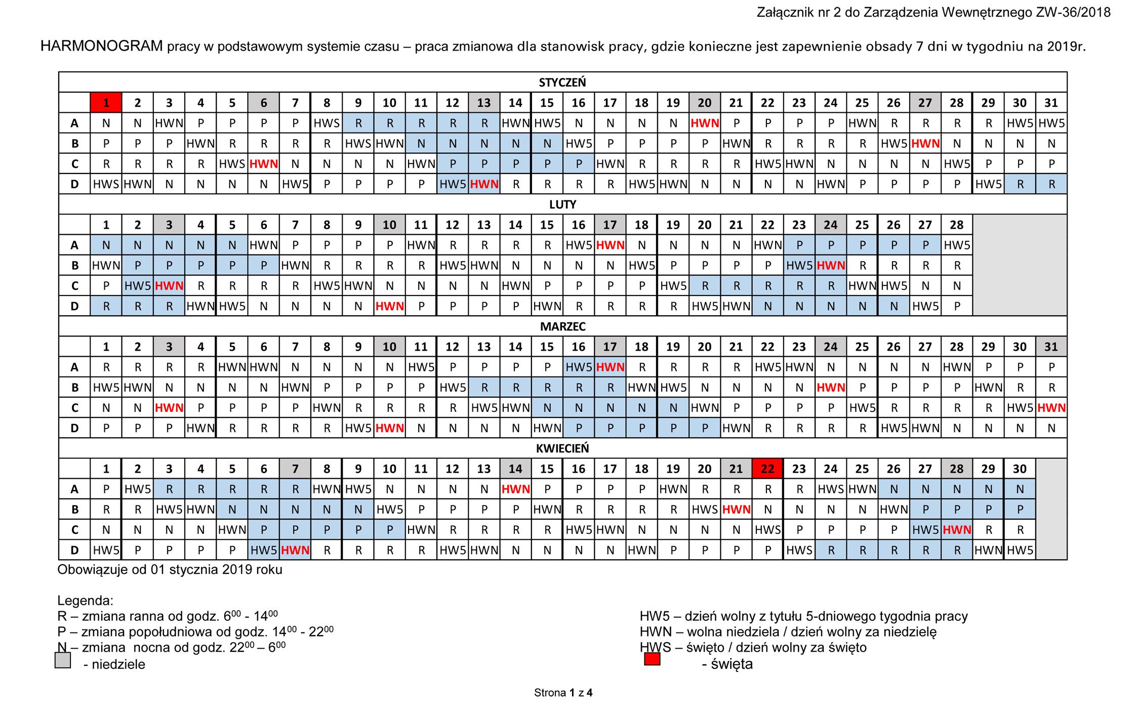 7dc7f7a4 ZWIĄZEK ZAWODOWY SODA POLSKA » Archiwum bloga » Grafik Pracy na rok 2019