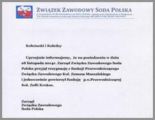 Zmiana w Zarządzie ZZ Soda Polska
